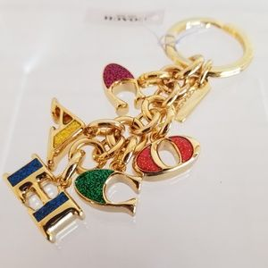 Coach Gold Tone Glitter Detail Keychain Purse Fob